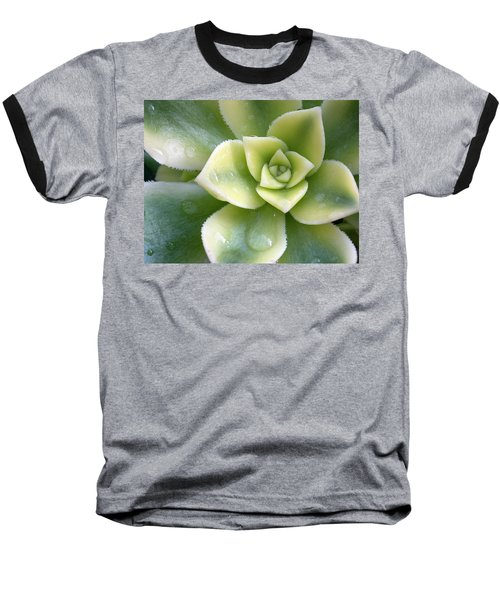 Baseball T-Shirt featuring the photograph Raindrops On The Succulent by Elvira Butler