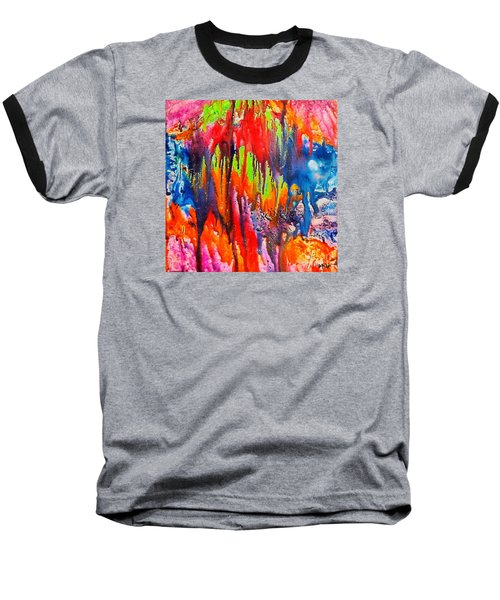 Baseball T-Shirt featuring the painting Raindrops On The Window by Dragica  Micki Fortuna
