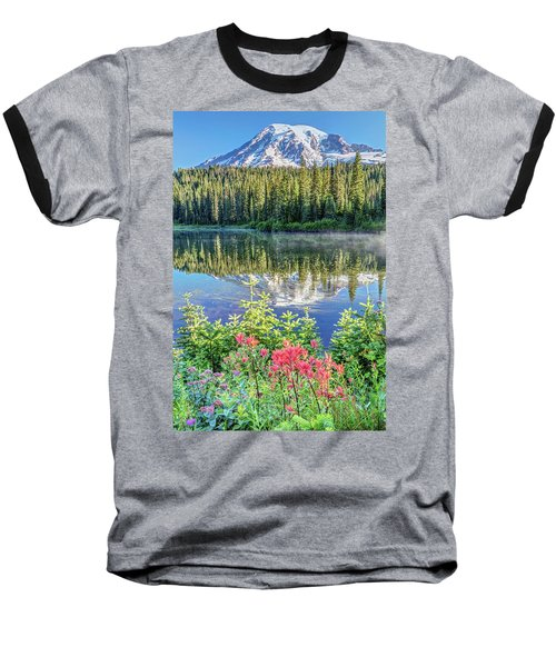 Rainier Wildflowers At Reflection Lake Baseball T-Shirt