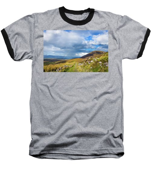 Raining Down And Sunshine With Rainbow On The Countryside In Ire Baseball T-Shirt by Semmick Photo