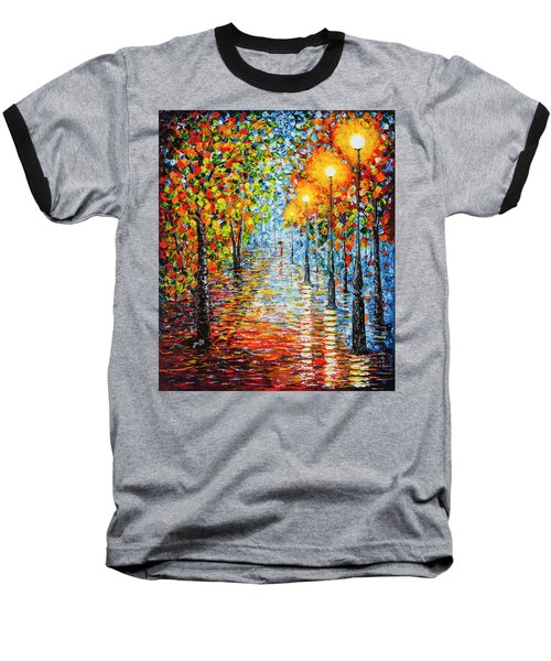 Baseball T-Shirt featuring the painting Rainy Autumn Evening In The Park Acrylic Palette Knife Painting by Georgeta Blanaru