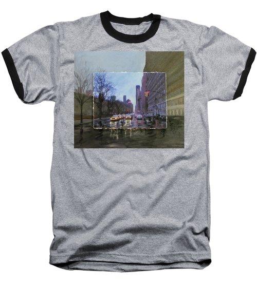 Rainy City Street Layered Baseball T-Shirt