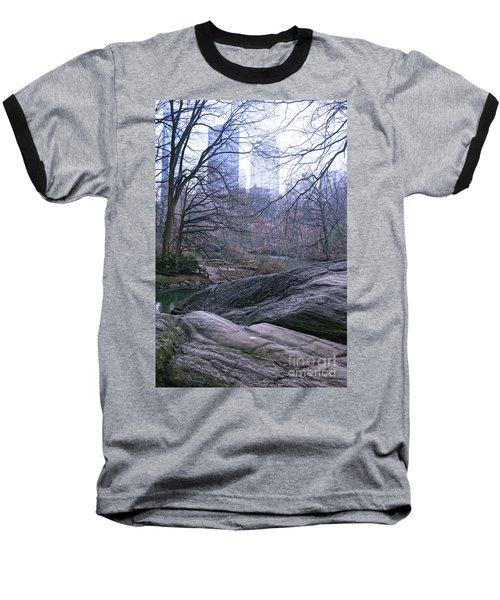 Rainy Day In Central Park Baseball T-Shirt