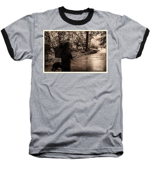 Baseball T-Shirt featuring the photograph Rainy Day - Woman And Dog by Madeline Ellis