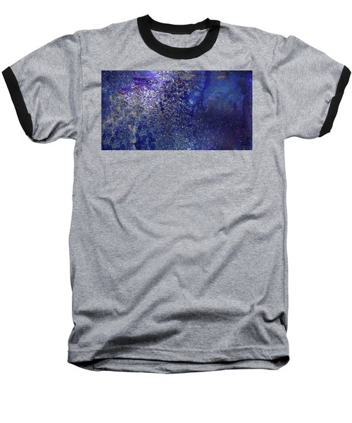 Rainy Night - Blue Contemporary Abstract Art Baseball T-Shirt