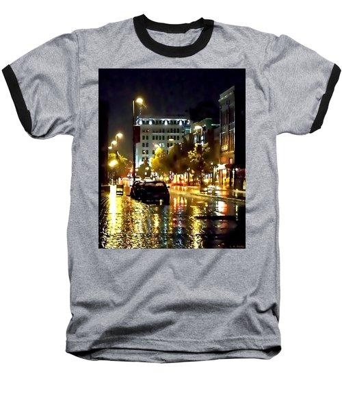 Rainy Night In Green Bay Baseball T-Shirt by Lauren Radke