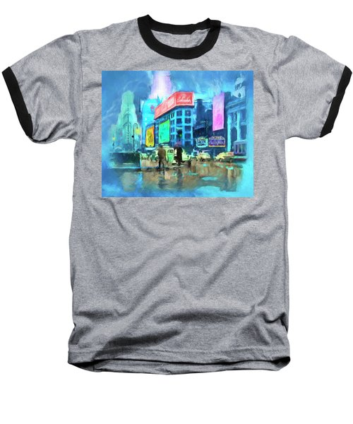 Baseball T-Shirt featuring the painting Rainy Night In New York by Michael Cleere