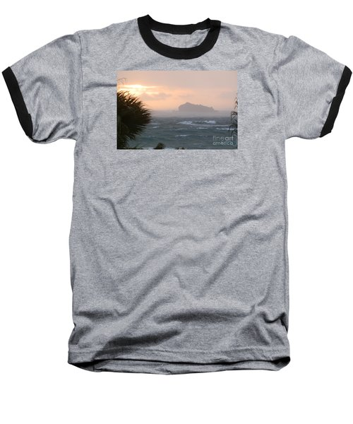 Rainy Xmas Sunrise Baseball T-Shirt by Margaret Brooks
