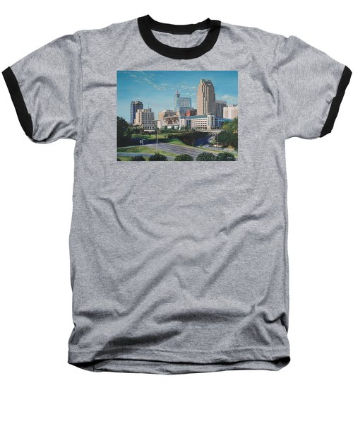 Raleigh Downtown Realistic Baseball T-Shirt