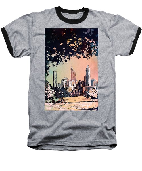 Baseball T-Shirt featuring the painting Raleigh Skyline V by Ryan Fox