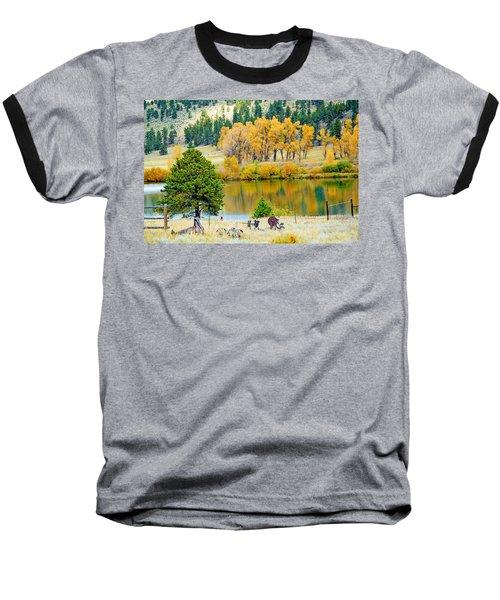 Ranch Pond In Autumn Baseball T-Shirt