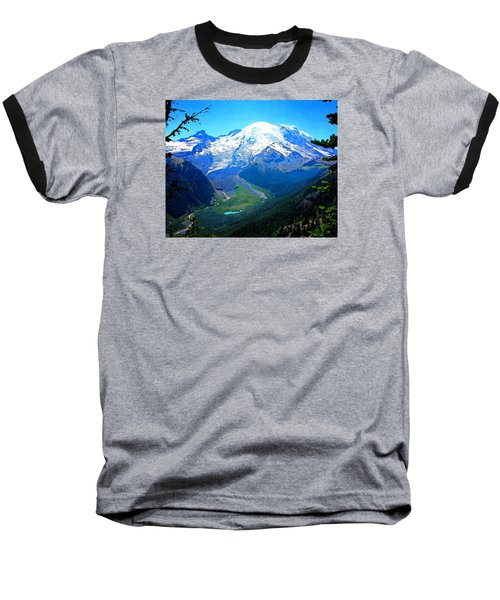 Ranier And Little Tahoma Baseball T-Shirt by Timothy Bulone