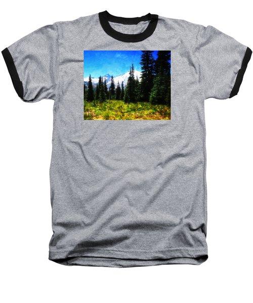 Ranier Mountain Meadow Baseball T-Shirt by Timothy Bulone