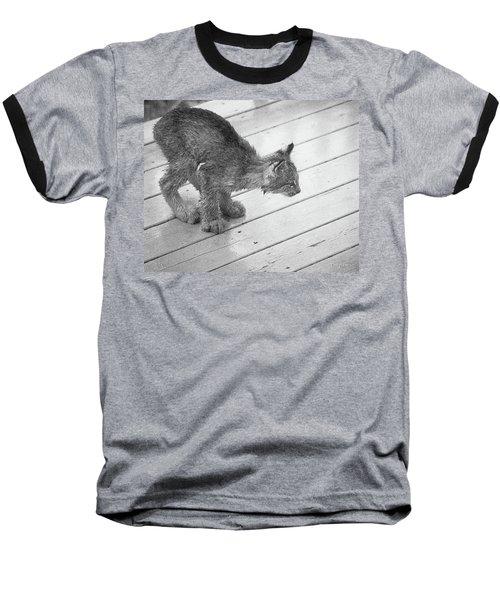 Crouching Kitty Baseball T-Shirt