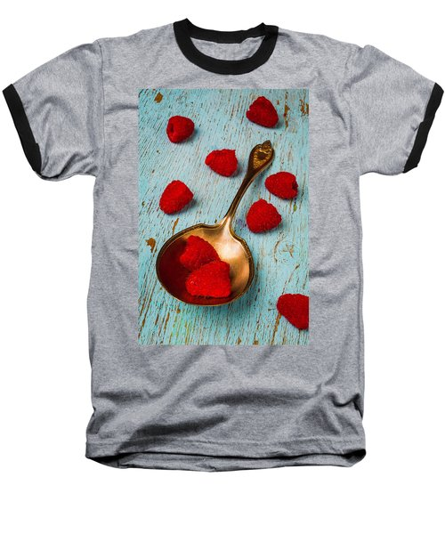 Raspberries With Antique Spoon Baseball T-Shirt by Garry Gay