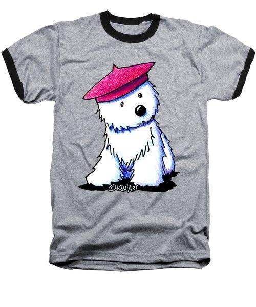 Raspberry Beret Westie Baseball T-Shirt by Kim Niles