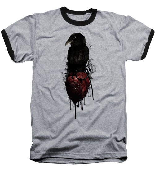 Baseball T-Shirt featuring the digital art Raven And Heart Grenade by Nicklas Gustafsson