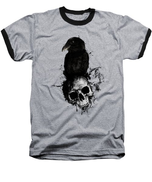 Baseball T-Shirt featuring the mixed media Raven And Skull by Nicklas Gustafsson