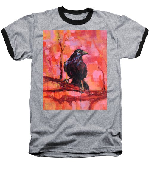 Raven Bright Baseball T-Shirt by Mary Schiros