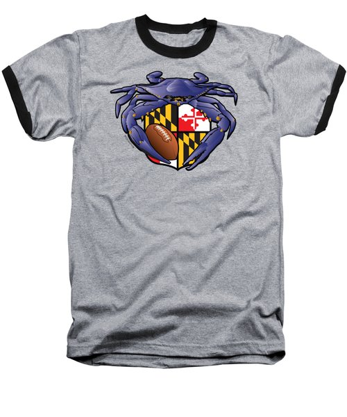 Raven Crab Football Maryland Crest Baseball T-Shirt