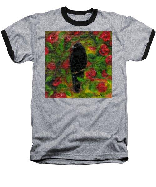 Raven In Roses Baseball T-Shirt