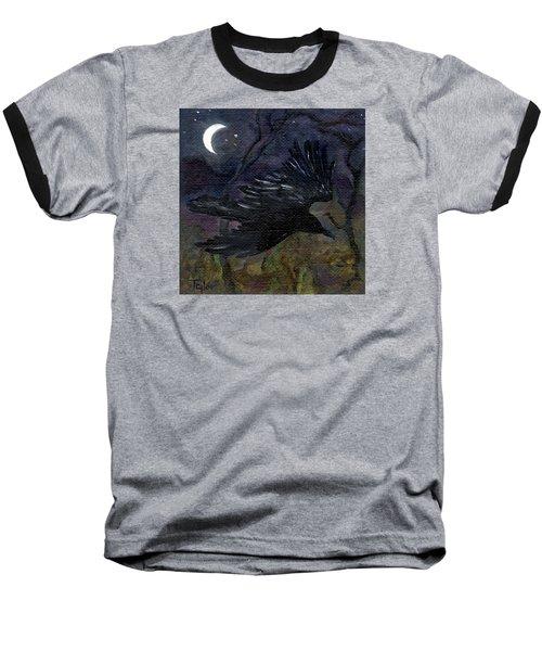 Raven In Stars Baseball T-Shirt by FT McKinstry