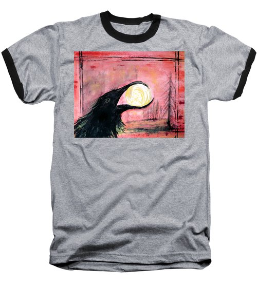 Baseball T-Shirt featuring the painting Raven Steals The Sun by 'REA' Gallery