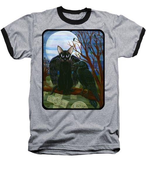 Raven's Moon Black Cat Crow Baseball T-Shirt