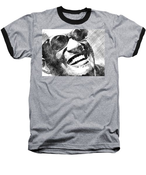 Ray Charles Bw Portrait Baseball T-Shirt by Mihaela Pater
