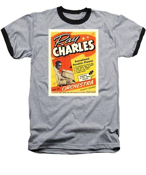 Ray Charles Rock N Roll Concert Poster 1950s Baseball T-Shirt