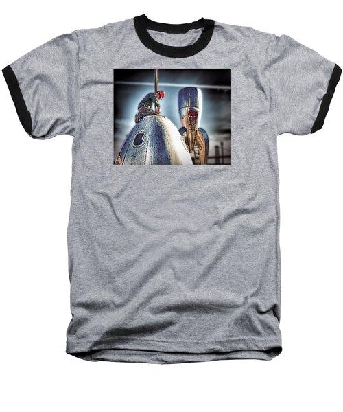 Raygun Gothic Rocketship Safe Landing Baseball T-Shirt by Steve Siri