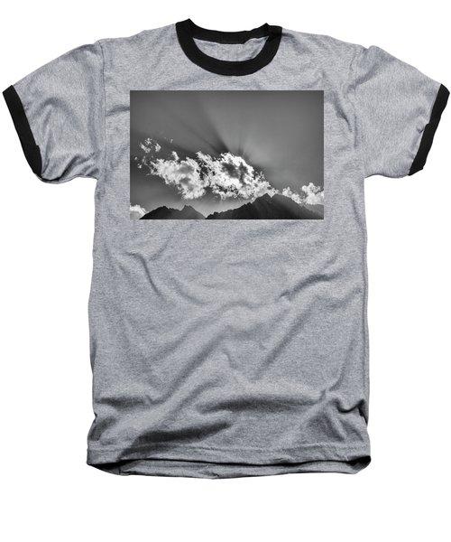 Baseball T-Shirt featuring the photograph Rays Through Clouds, Keylong, 2005 by Hitendra SINKAR