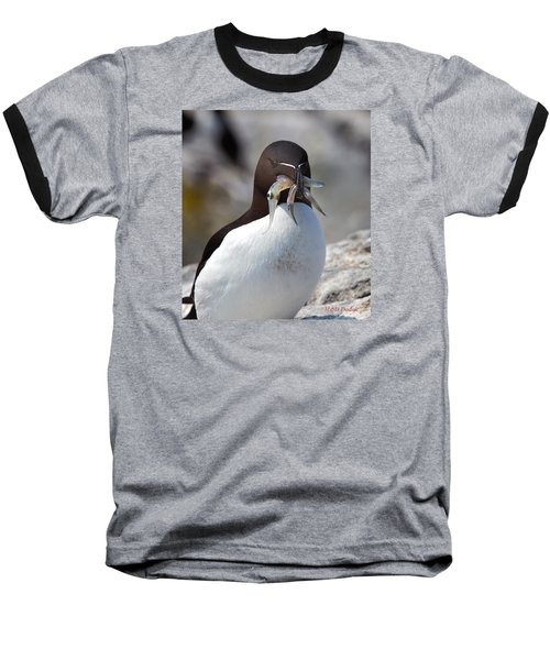 Razorbill With Catch Baseball T-Shirt by Mike Dodak