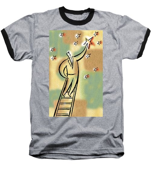 Baseball T-Shirt featuring the painting Reaching For The Star by Leon Zernitsky