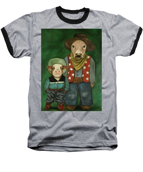 Real Cowboys 3 Baseball T-Shirt by Leah Saulnier The Painting Maniac