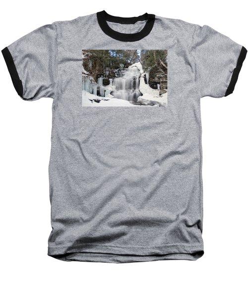 Receding Winter Ice At Ganoga Falls Baseball T-Shirt