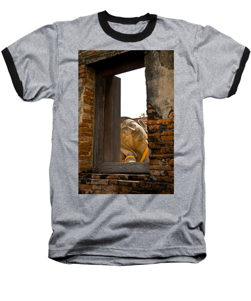 Reclining Buddha View Through A Window Baseball T-Shirt by Ulrich Schade
