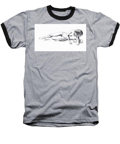 Reclining Drawing Model Baseball T-Shirt