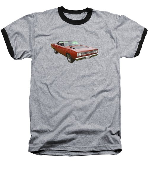 Red 1968 Plymouth Roadrunner Muscle Car Baseball T-Shirt