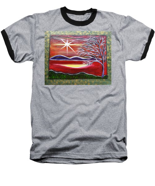 Red Abstract Landscape With Gold Embossed Sides Baseball T-Shirt