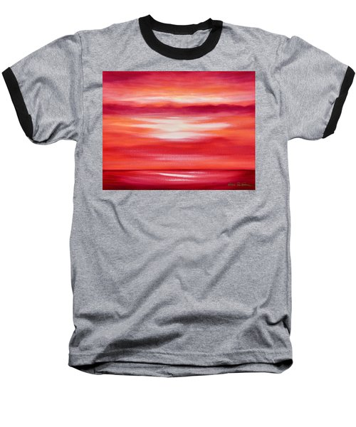 Red Abstract Sunset Baseball T-Shirt