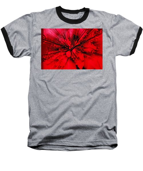 Baseball T-Shirt featuring the photograph Red And Black Explosion by Susan Capuano