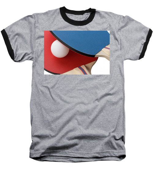 Red And Blue Ping Pong Paddles - Closeup Baseball T-Shirt