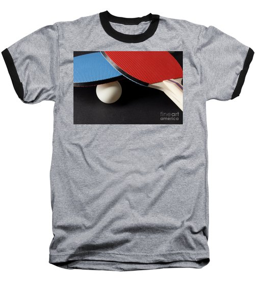 Red And Blue Ping Pong Paddles - Closeup On Black Baseball T-Shirt
