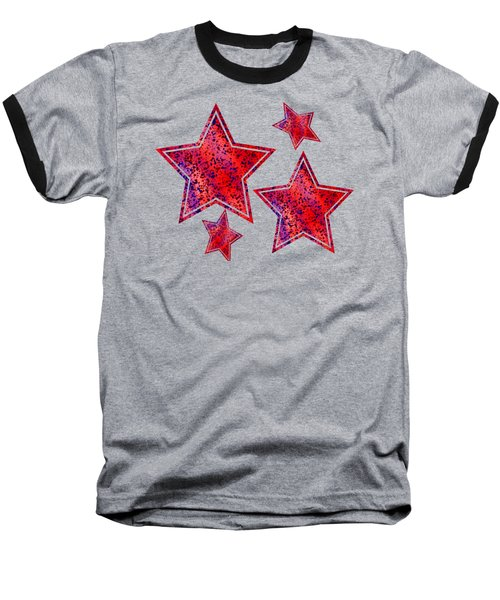 Red And Blue Splatter Abstract Baseball T-Shirt
