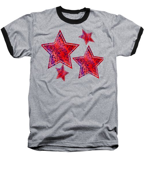 Red And Blue Splatter Abstract Baseball T-Shirt