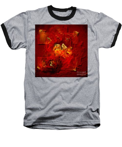 Baseball T-Shirt featuring the painting Red And Gold by Alexa Szlavics