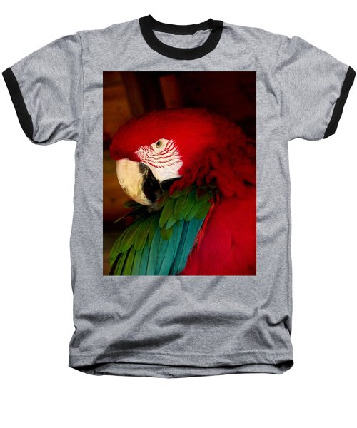 Red And Green Wing Macaw Baseball T-Shirt