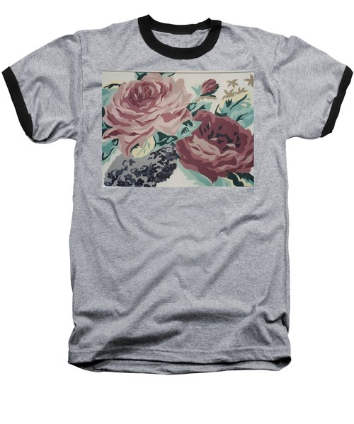Red And Pink Flowers Baseball T-Shirt