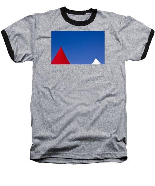 Red And White Triangles Baseball T-Shirt by Prakash Ghai
